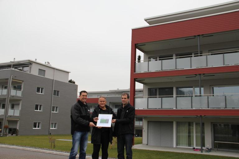Rico Kaufmann (Inhaber Kaufmann Oberholzer AG), Benno Andermatt (Vertreter Bauherrschaft) und Christian Husistein (Projektleiter Kaufmann Oberholzer AG)